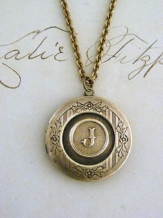Locket Necklace Initial Letter J  Vintage by chloesvintagejewelry, $38.00