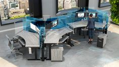 Incorporate pops of your Branding Colors into our Sit-Stand Workstations and create a unique, uplifting Workspace through the intelligent application of color into your office furniture. Dividers (Side & Front) can be added/made higher for enhanced Social Distancing. Sit Stand Workstation, Sit Stand Desk, Cubicle Design, Office Reception, Cool Office, Dividers, Open Plan, Office Furniture, Branding