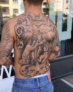Jesus Tattoo, Backpiece Tattoo, Chest Tattoo, Drawings To Trace, Back Tattoos For Guys, Aztec Warrior, New Tattoos, Tatoos, Christen