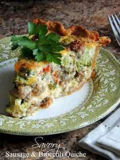 Savory Sausage & Broccoli Quiche for Breakfast, Dinner or Brunch - I actually made this and it was really good.  My only suggestion is to brown the sausage separately first and when done add it on top of the piecrust, top with sautéed veggies mixed with other ingredients. ... when trying to get a nice brown color... I found it impossible when it was browning with the veggies.  But it still was really good.