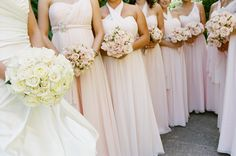 Soft blush dresses and blush wedding flower bouquets. Sonoma Valley Wedding. #Sonoma Mission Inn. Floral #Fleurs de France.www.fleursfrance.com Photo: Todd Rafalovich