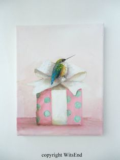 RESERVED for Sandi Hummingbird gift painting original by 4WitsEnd