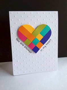 Love this card. handmade Valentine card from I'm in Haven: Danish Hearts . clean and simple design . gorgeous woven heart in bright rainbow colors . traditional Scandinavian heart now has a die to cut perfect shapes . Love Cards, Diy Cards, Tarjetas Diy, Heart Cards, Valentine Day Cards, Handmade Valentines Cards, Creative Cards, Creative Ideas, Anniversary Cards