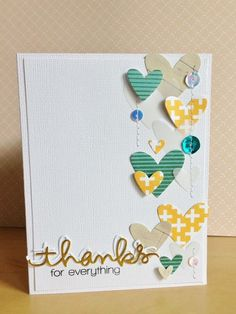 Hearts and sequins.  Cards by Leah at @Studio_Calico
