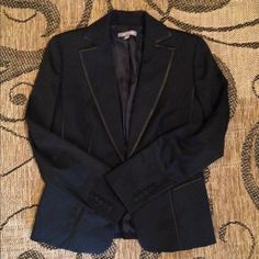 Ann Taylor suit coat black with black detailing Love love love this doesn't fit ... One of those finds that I swore I'd wear when it fit... Hasn't fit yet. Super sharp very good condition Ann Taylor Jackets & Coats