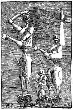 """Daniel Mróz, ilustracja - """"Cyberiada"""" St.Lem"""