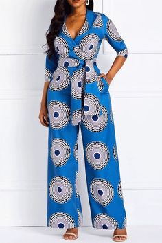Geometric Print Pockets Notched Lapel Jumpsuits for Women. Jumpsuits for women African Maxi Dresses, African Fashion Ankara, Latest African Fashion Dresses, African Dresses For Women, African Print Fashion, African Attire, Africa Fashion, Ankara Dress Styles, Fashion Prints