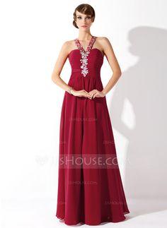 A-Line/Princess Halter Floor-Length Chiffon Prom Dress With Ruffle Beading (018005359) - JJsHouse