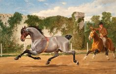 """Alfred F. de Prades (British, 1840-1895) A YOUNG WINDSOR GREY BEING LINE BROKEN FOR FUTURE USE BY ENGLISH ROYALTY Oil on canvas, 26"""" x 40"""" Signed, dated 1876 The term Windsor Grey applies to the grey horses used to draw the Royal Family's carriages and coaches for ceremonial processions and who represent the crown in various driving events. This scene was painted at Windsor Castle,.The Sporting Art Auction"""