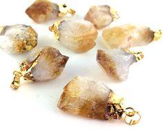 1pcs Natural Citrine Quartz Pendant Light Yellow Crystal