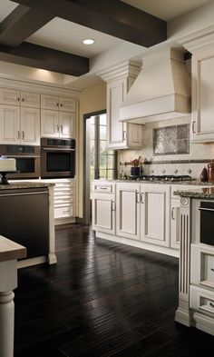 White cabinets and dark wood Kitchen- could really use this kitchen!!
