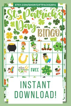 Great for all ages, these family game will have everyone smiling. This printable St. Patrick's Day Bingo game will make a fun addition to your next Saint Patrick's Day party or birthday party!