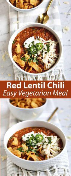 Red lentil chili #vegan #easydinner #dinnerideas