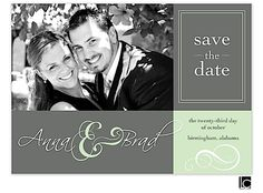 Green and gray save the date card