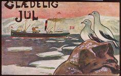 """LÆRUM, GUSTAV. Tegnet julekort sign """"GL"""" med dampbåt i isen. Utg J.H.Küenholdt stemplet 1918"""