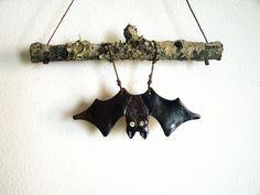 Stoneware Bat Wall Hanging
