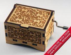 "Music Box, ""You Are My Sunshine"" by Jimmie Davis, Laser Engraved Wood Hand Crank Music Box"