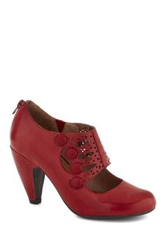 Breathe Prestige Heel by Miz Mooz - Red, Solid, Buttons, Cutout, Work, Mid, Leather, Best, Party, Vintage Inspired, 30s, 40s