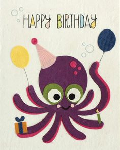 "Our ""Octo Birthday"" card is lovingly handcrafted in the Philippines by women survivors of sex trafficking. The card incorporates a variety of handmade, recycled papers, making it environmentally susta"