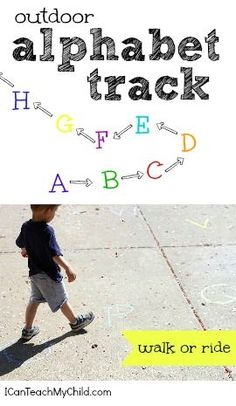 icanteachmychild.com: This activity was so simple the pairing of gross motor learning along with letter recognition! could adapt to a variety of gross motor movements or change letters to numbers