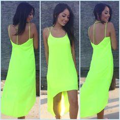 Neon Green High Low Dress