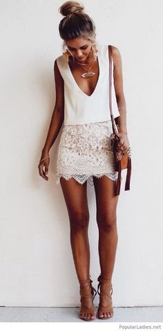 white lace skirt, lace skirt outfit