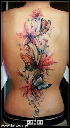 Lilies & Butterflies Back Tattoo -- Words cannot describe how beautiful this is.