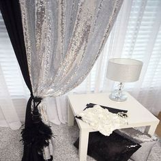 Silver Sequins Sparkly Single Curtain Drapery Panel