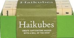 Haiku is a very good thing. This set includes 63 dice with words on every side. You can use them as a game or as word prompts for your own writing. Love. :: Haikubes by Forrest-Pruzan Creative
