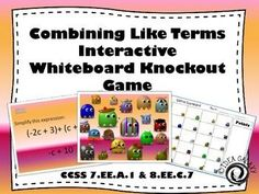 Students love this combining like terms game. Easy to set up and play- all you need is a projector & 1 computer. Supports and grade math standards CCSS and CCSS TEKS and TEKS Math Teacher, Math Classroom, Teaching Math, Student Learning, Teaching Resources, Teaching Tools, Common Core Math, Common Core Standards, Combining Like Terms