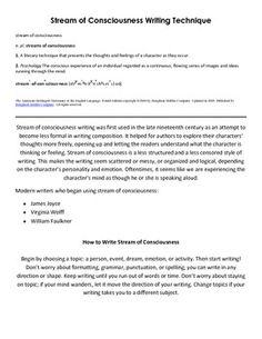 stream of consciousness writing assignment topics