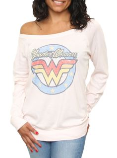Wonder Woman Long Sleeve Off the Shoulder Tee - Women's New Arrivals - Off the Shoulder - Junk Food Clothing