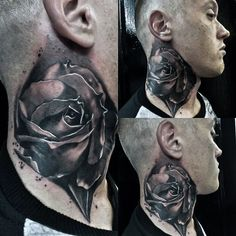 80 throat tattoos for men - cool masculine design ideas Rose Tattoo On Arm, Flower Tattoo On Side, Sunflower Tattoo Shoulder, Sunflower Tattoo Small, Neck Tattoo For Guys, Tattoos For Guys, Throat Tattoo, Tattoo Neck, Best Cover Up Tattoos