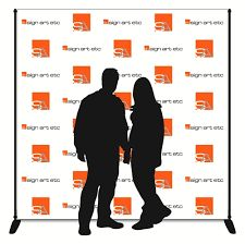 A backdrop display that has one or more sponsor logos repeated in a step or…