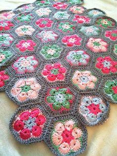 Crochet Baby Blanket African Flower Hexagons by eaCREATIONZ, $60.00