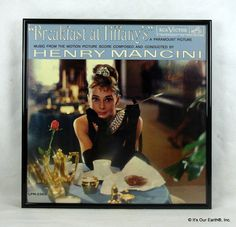 FRAMED RECORD ALBUM COVER made using a vintage BREAKFAST AT TIFFANYS SOUNDTRACK Vinyl LP Cover. The perfect gift for your music fan, musician, teacher or Music Room.