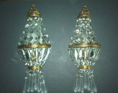 """crystal Wall Sconces   ... 11"""" flower vase. Pr brass and crystal wall sconces … Fetch Doc"""