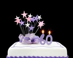 Fancy cake with number 60 candles. Decorated with ribbons and star-sh , Happy 60th Birthday, 60th Birthday Cakes, Happy Birthday Messages, Birthday Parties, Birthday Ideas, Ideas Decoracion Cumpleaños, Ideas Para Fiestas, 30 Cake, Cake Stock