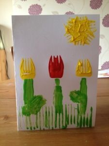 Fork Painted Flowers would be perfect on a Mother's Day Card #mothersday #craft #paintingkids
