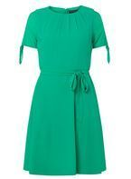 Womens Green Belted Fit & Flare Dress- Green