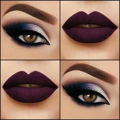 beautiful fall makeup #Beauty #Musely #Tip winter nails - http://amzn.to/2iZnRSz Dark Purple Lipstick, Plum Lipstick Makeup, Dark Purple Nails, Fall Lipstick Colors, Dark Eyeshadow, Plum Eye Makeup, Blood Red Lipstick, Dark Color Nails, Crazy Eyeshadow