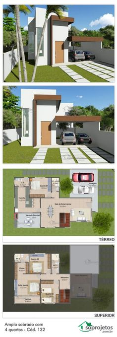 19 Super Ideas For Home Office Design Plan Garage Dream House Plans, Modern House Plans, Small House Plans, House Floor Plans, My Dream Home, Layouts Casa, House Layouts, Future House, Sims 4 Houses Layout