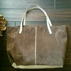 AMERICAN APPAREL suede and leather Tote bag NEW! American apparel  Beautiful luxurious brown suede and light baby blue leather Tote bag. . New! Never been used.. Mint condition 100% authentic...new without tags American Apparel Bags Totes