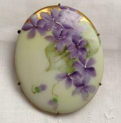 Vintage Hand Painted Brooch Violets | eBay