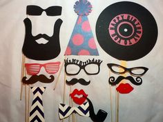 Adult Birthday Party Photo Props Set of 15  Hipster Boy Party Dance Party Decorations Men's Birthday party