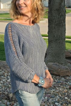 Ravelry: Ladder Sleeve Pullover pattern by Joann Rogers - love the detail on the sleeve
