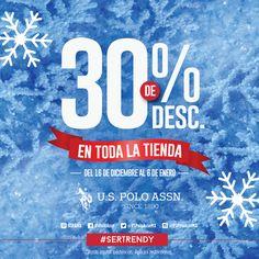 Esta Navidad, en US POLO ASSN hay regalos para todos. ¡Con esta promoción no podrás resistirte! 30% en toda la tienda del 16 de diciembre 2015 al 6 de enero 2016.   Promoción válida sólo en las sucursales de México DF, Mexicali, Tijuana, Hermosillo, Los Mochis, Culiacán, Ensenada, León, Villahermosa.  #SerTrendy #Navidad #UsPolo