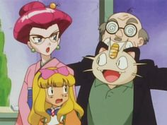 Team Rocket members Jessie, James, and Meowth with Ash Ketchum in drag in the Pokemon Anime http://anime.about.com/od/Anime-Blu-Ray-and-DVD-Reviews/fl/Pokemon-the-Series-XY-Set-2-DVD-Review.htm