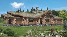 Kanadisches-Blockhaus-aus-Holz-Gebirge
