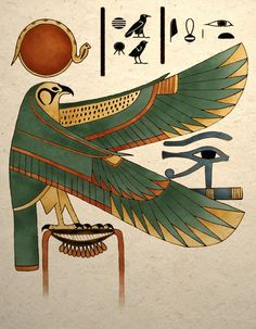 Ancient Egyptian Art Print Horus Falcon Wall di TigerHouseArt